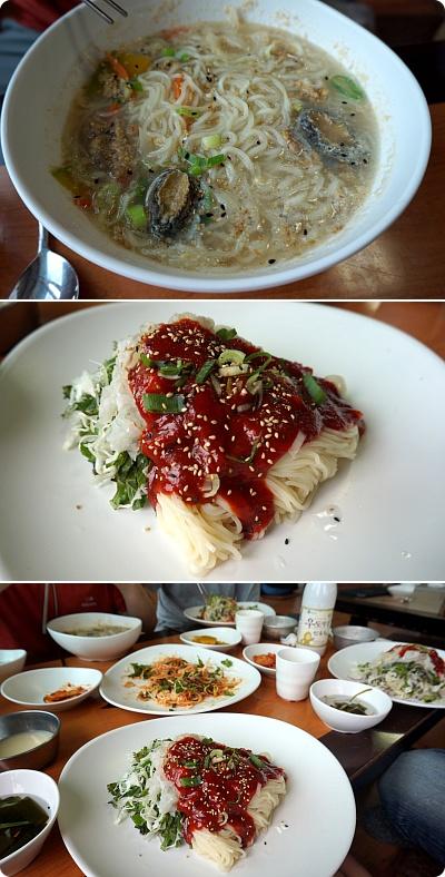 チェジュ島の珍味「フェグッス(刺身麺)」&ピーナツマッコリ