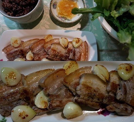 「韓国のうちご飯」サムギョップサルとゆず焼酎(チョウムチョロン・スンハリ)
